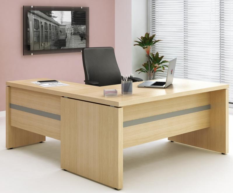 Mesa para escrit rio em l com gavetas display m veis for Mesa escritorio l