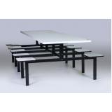 conjunto de mesas e cadeiras para refeitórios na Vila Esperança