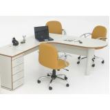 mesa para escritório em l com gavetas preço em São Domingos
