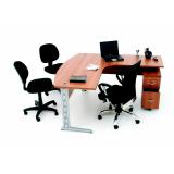 mesas para escritórios em l com gavetas no Cursino